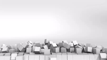 çöküş : A collapsing wall of white cubes over white background. 3D Illustration.  HD.