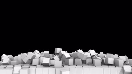 çöküş : A collapsing wall of white cubes over white background  with alpha channel. 3D Illustration.  HD.