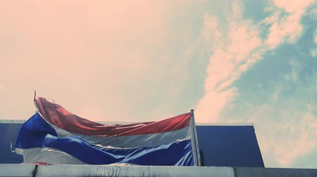 Flag of Thailand waving when the wind blows Stock Footage