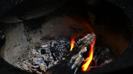 Fire burns firewood in the stove of the villagers before cooking.