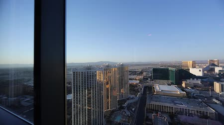 mandalay bay : daytime - pan penthouse view of mgm grand