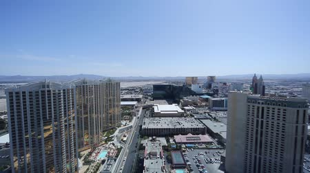 mandalay bay : sunny penthouse view of mgm and surrounding towers Stock Footage