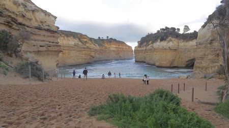 campbell : MELBOURNE,AUSTRALIA - CIRCA May 2013 :2 angles - overhead and beach level Loch Ard Gorge