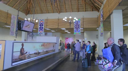 pretoria : CIRCA June 2013 - NELSPRUIT, KRUGER NATIONAL PARK ,SOUTH AFRICA - a high to low shot of the uniquely themed neilspruit airport Stock Footage
