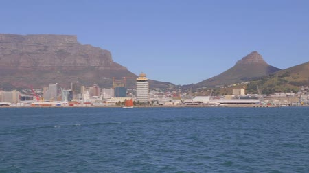 pretoria : CIRCA June 2013 - CAPETOWN ,SOUTH AFRICA - a pan of table mountain as seen from a boat heading to Robben island Stock Footage