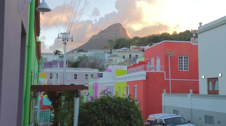 pretoria : CIRCA June 2013 - NEILSPRUIT, KRUGER NATIONAL PARK ,SOUTH AFRICA - a view of the colorful houses at Bo-Kaap with a sunny backdrop of a mountain top