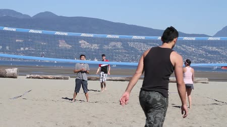 volleyball : VANCOUVER, BC ,CANADA - CIRCA September 2011 :outdoor summer volleyball - first person view
