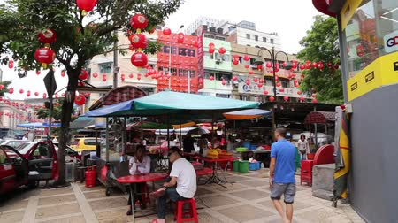 bintang : Jalan Alor area with red lanterns Stock Footage