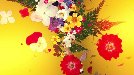 blooming flower bouquets, japanese style, golden background