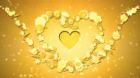 aureate : Flower wreath, heart shaped, gold Stock Footage