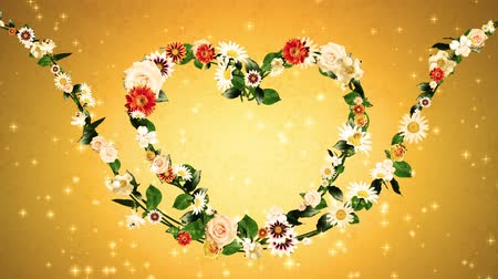 aureate : Flower wreath, heart shaped, gold background