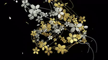 японский рисунок : Cherry blossoms with gold and silver texture are blooming along the trajectory 2