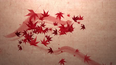 японский рисунок : Red momiji leaves are blooming along the trajectory, in paper texture background 1