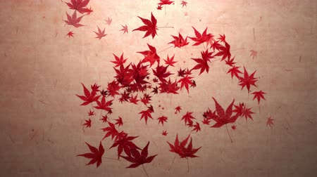 Red momiji leaves are blooming along the trajectory, in paper texture background 3