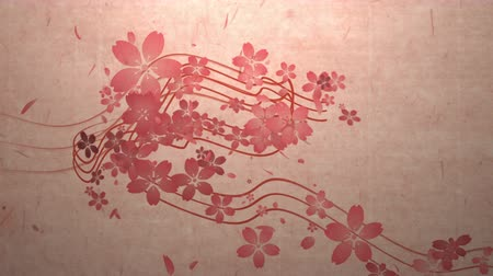 японский рисунок : Cherry blossoms are blooming along the trajectory, in paper texture background 2
