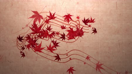 японский рисунок : Red momiji leaves are blooming along the trajectory, in paper texture background 2 Стоковые видеозаписи