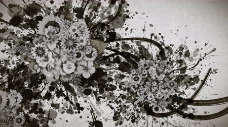 Monochrome flowers and ink paint strokes paper texture background