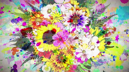 flowers and color paint strokes paper texture background