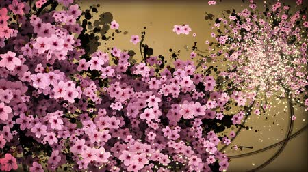 admission : cherry blossom and ink paint strokes gold background
