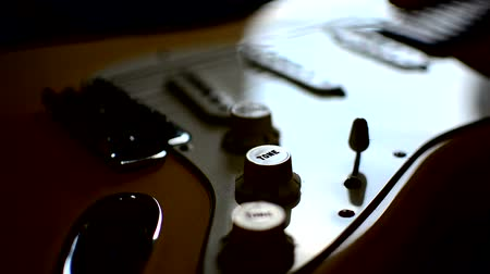 headstock : Zoom in Electric guitar Stock Footage