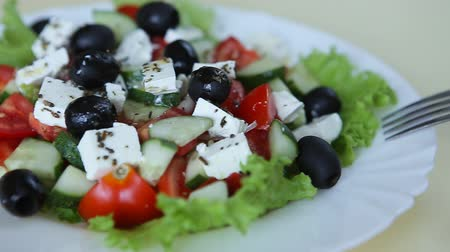 salad : Close up of greek salad Stock Footage