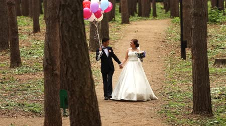 társkereső : Couple of bride and groom with balloons Stock mozgókép