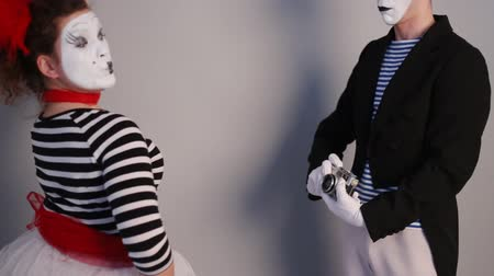 Two Mimes take selfie Stock Footage
