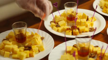 dorblu : Cheese plate served. Close-up. Stock Footage