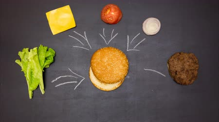 plating food : Building a Burger. Stop motion animation Stock Footage