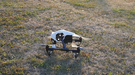 self made : Drone takes off from the grass