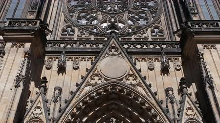 hradcany : Pan shot Saint Vitus Cathedral in Prague Stock Footage