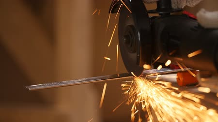 angle grinder : Man works as a grinder Stock Footage