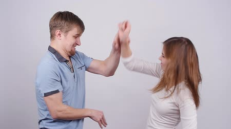 insult : Man and woman are fighting. Terrible domestic violence in family Stock Footage