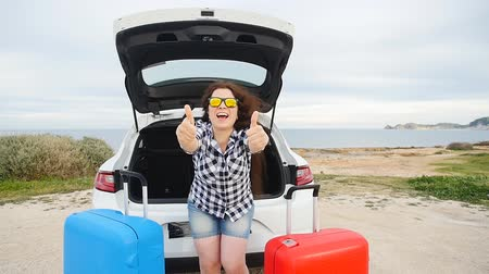 av köpeği : Happy young Woman on summer travel vacation sitting in a car trunk Stok Video