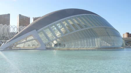 simmer : Hemisferic building in Valencia, Spain. City of Arts and Sciences Stock Footage