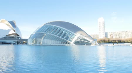 espana : Hemisferic building in Valencia, Spain. City of Arts and Sciences Stock Footage