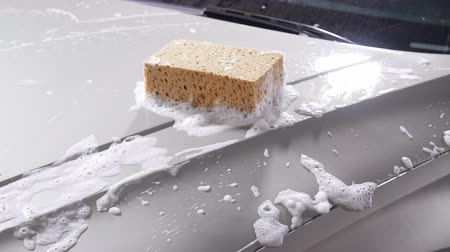 muck : Sponge for the car for washing Stock Footage