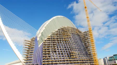 economics : VALENCIA, SPAIN - January 10, 2018. Construction of a new building in the City of Arts and Sciences