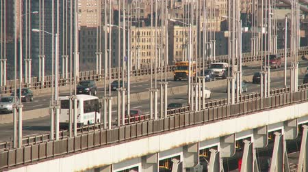 fort lee : Afternoon traffic flows over the George Washington Bridge as viewed from Fort Lee, New Jersey. Stock Footage