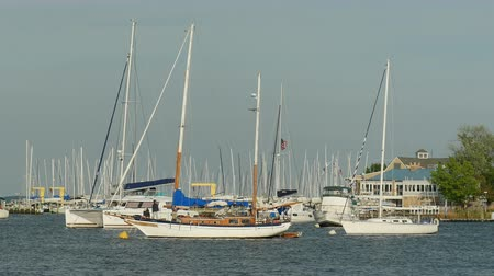 ancorado : ANNAPOLIS, MD - MAY 20: Yachts and sailboats rest at anchor in Spa Creek on May 20, 2015 in Annapolis.