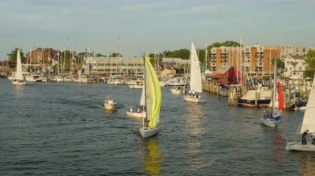 гоночный : ANNAPOLIS, MD - MAY 20: Yachts and sailboats sail on Spa Creek, returning from Wednesday Night Racing activities on May 20, 2015 in Annapolis.
