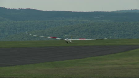 bezmotorové létání : ELMIRA, NY - JULY 31: Pilot Glenn Betzoldt brings his Discus 2a sailplane in for a landing during the 2013 SSA Region 3 Soaring contest at Harris Hill gliderport on July 31, 2013 in Elmira, New York.