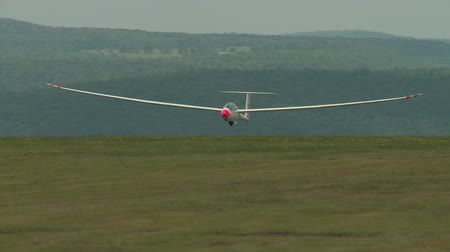 two seater : ELMIRA, NY - AUGUST 2: Pilot George Hanke brings his Duo Discus sailplane in for a landing during the 2013 SSA Region 3 Soaring contest at Harris Hill gliderport on August 2, 2013 in Elmira, New York.