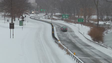 bronx : WHITE PLAINS, NY - FEBRUARY 5: Light traffic heads north on the Bronx River Parkway towards the Westchester County Center after a heavy snowfall on February 5, 2014 in White Plains.