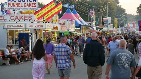 adil : AUGUSTA, NJ - AUGUST 6: (Slow Motion) People walk on the midway during the New Jersey State Fair on August 6, 2014 at the Sussex County Fairgrounds in Augusta, New Jersey. Stok Video