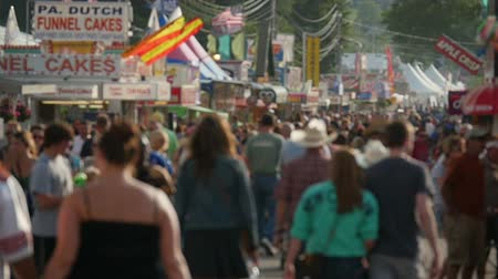 food state : AUGUSTA, NJ - AUGUST 6: (Slow Motion) People walk on the midway during the New Jersey State Fair on August 6, 2014 at the Sussex County Fairgrounds in Augusta, New Jersey. Stock Footage