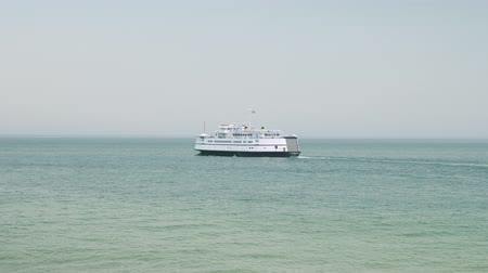 A Steamship Authority ferry departs from Marthas Vineyard for the trip back to Woods Hole on the mainland.