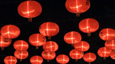 to celebrate : Chinese paper lanterns in the night on Chinese new year celebration Stock Footage
