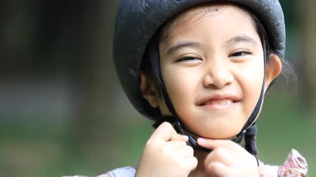 bicycle : Story of little Asian child with mother practice to riding a bicycle