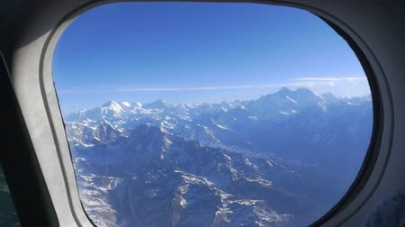 airplane engine : Air plane window view at Everest mountain